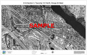 0.5 Section Overlay of Aerial Photo with Tax Parcel Sample (b w)